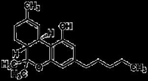 Tetrahydrocannabinol. THC. Structural formula.
